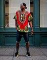 Бесплатная доставка 2015 новинка дизайн африканский традиционные печать 100% хлопок Dashiki для мужчин цвет красный