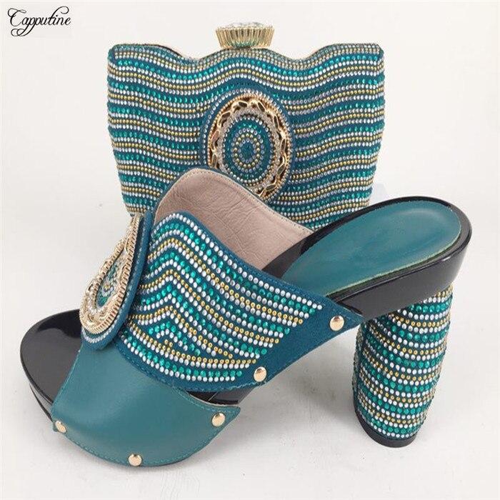 Модные вечерние комплект итальянский дизайн высокий каблук сандалии обувь и сумки наборы 226-7 В сине зеленый