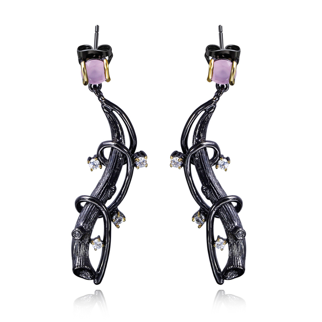 DC1989 Laurel tree Wave Cocktail Lilac Drop women earrings Black Gold Plated White Cubic Zirconia Copper Lead free ZE52803