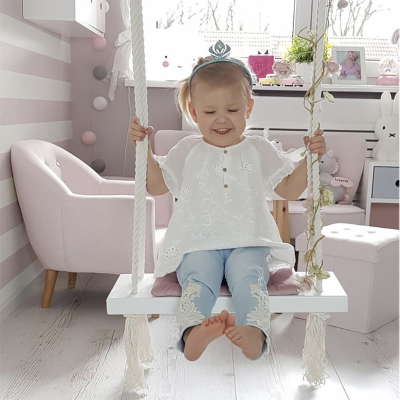 Baby Swing Chair Hanging Swings Set Children Toy Rocking Solid Wood Seat with Cushion Safety Baby