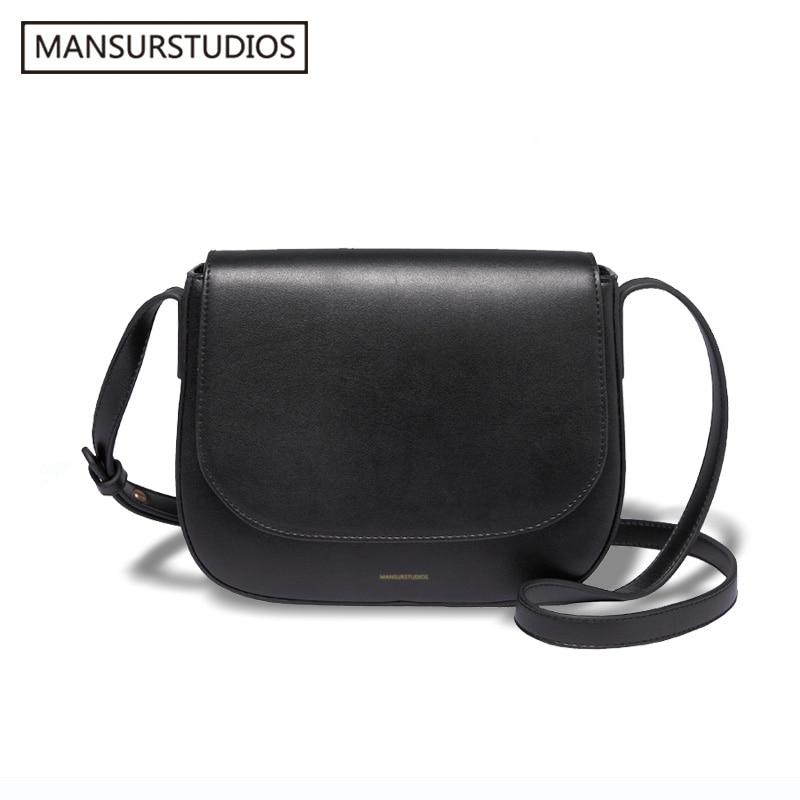 2018 MANSURSTUDIOS women Split leather crossbody bag , lady leather shoulder bag,girl leather ,mansur garviel saddle bag,