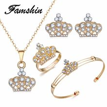 FAMSHIN 2018 Latest Gold Color Crown Bridal Jewelry Set Hollow Flower Necklace/Earrings/Ring/Bracelet Indian Wedding For Woman(China)