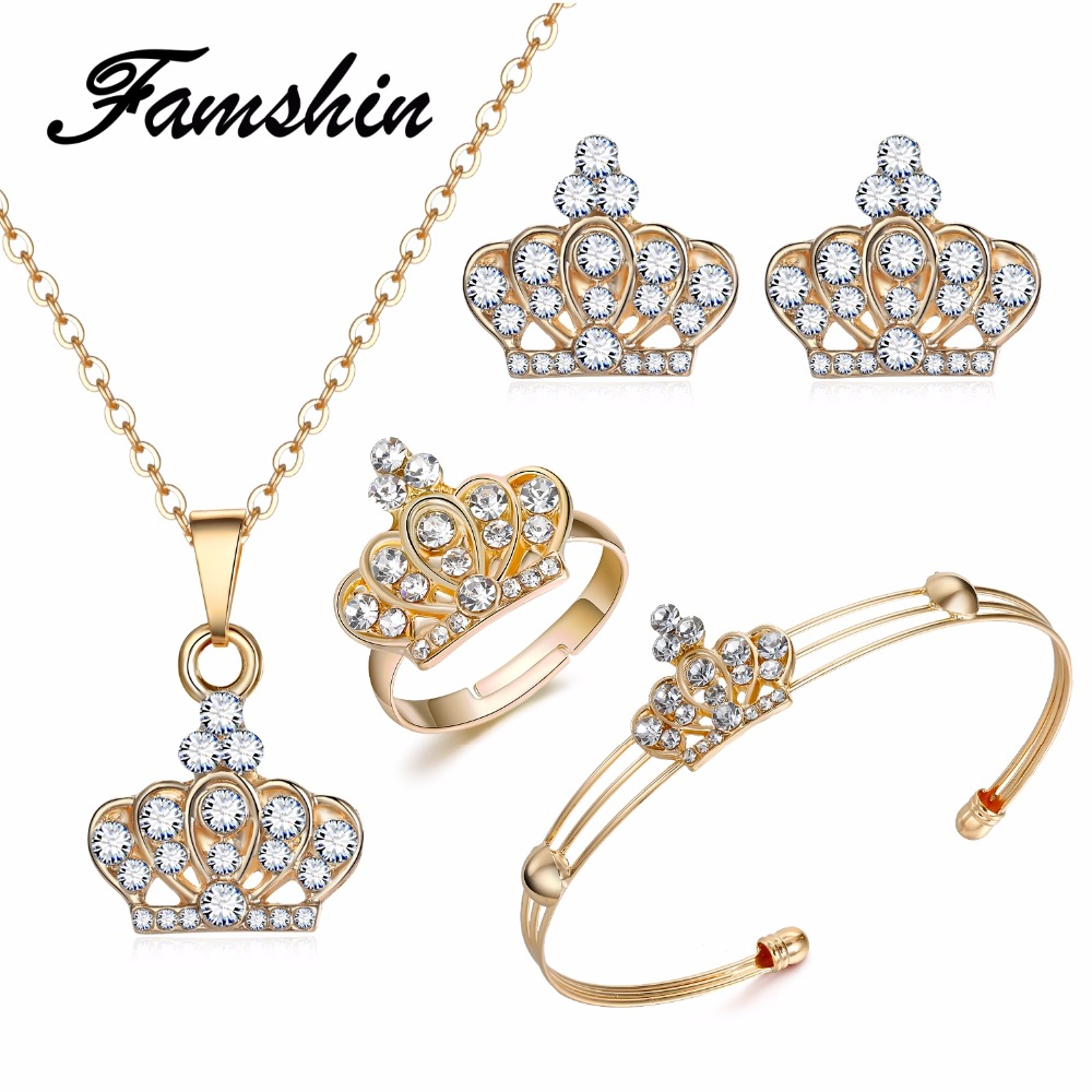 FAMSHIN 2018 Latest Gold Color Crown Bridal Jewelry Set Hollow Flower Necklace/Earrings/<font><b>Ring</b></font>/<font><b>Bracelet</b></font> <font><b>Indian</b></font> Wedding For Woman image