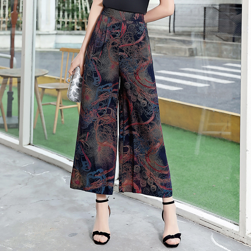 Women's Ethnic Floral print   Wide     Leg     Pants   Women Vintage Flower Print ankle length Trousers Femme Cotton Casual loose   Pants