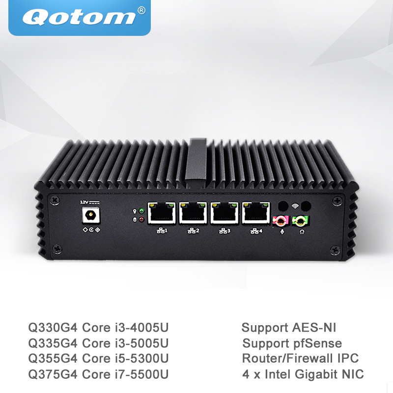 Qotom Mini PC Core i3 i5 i7 with 4 Gigabit Ethernet NIC Pfsense AES-NI Fiewwall Router Machine Micro Industrial Computer Q300G4