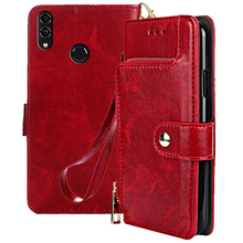 Leather Wallet Case For Huawei Honor 8C 6.26 inch Luxury Flip Card Slots Cover Play BKK-AL10 Phone Bags