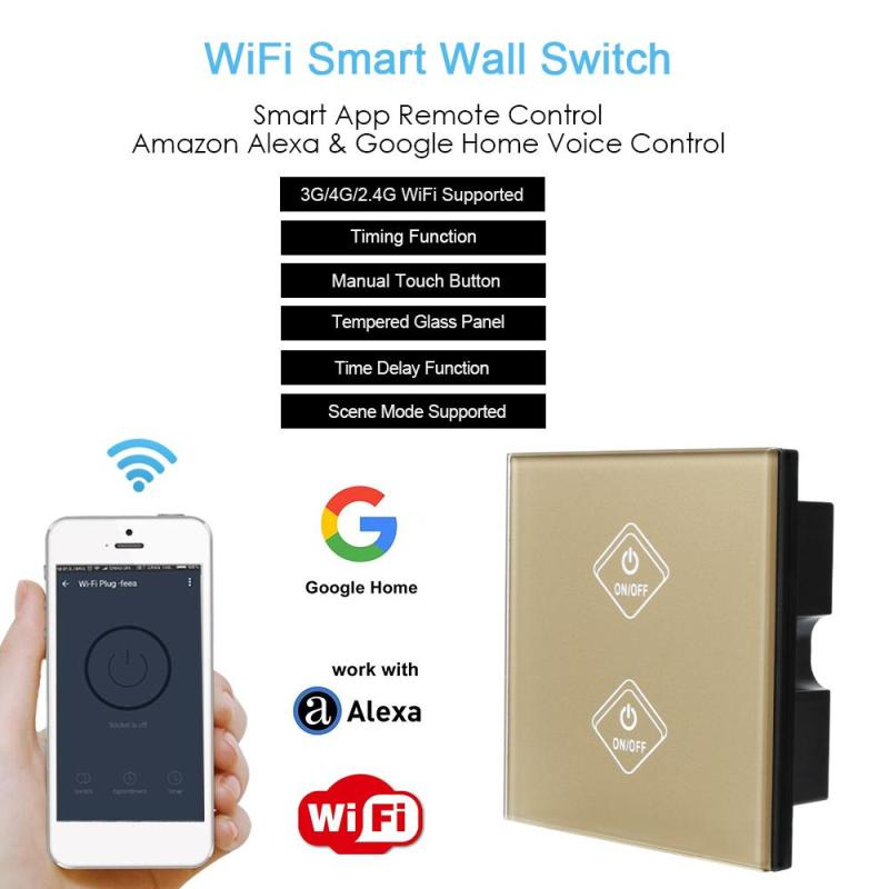 2 Gang Light Wall Touch Switch Gold Crystal Glass Switch Panel UK Standard AC 90-250V Timing Remote Control Compatiable Alexa funry uk standard 1 gang 1 way smart wall switch crystal glass panel touch switch ac 110 250v 1000w for light