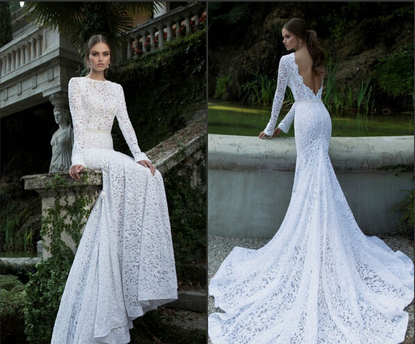2014 berta vintage lace sexy backless wedding dresses open for Fitted lace wedding dress with open back