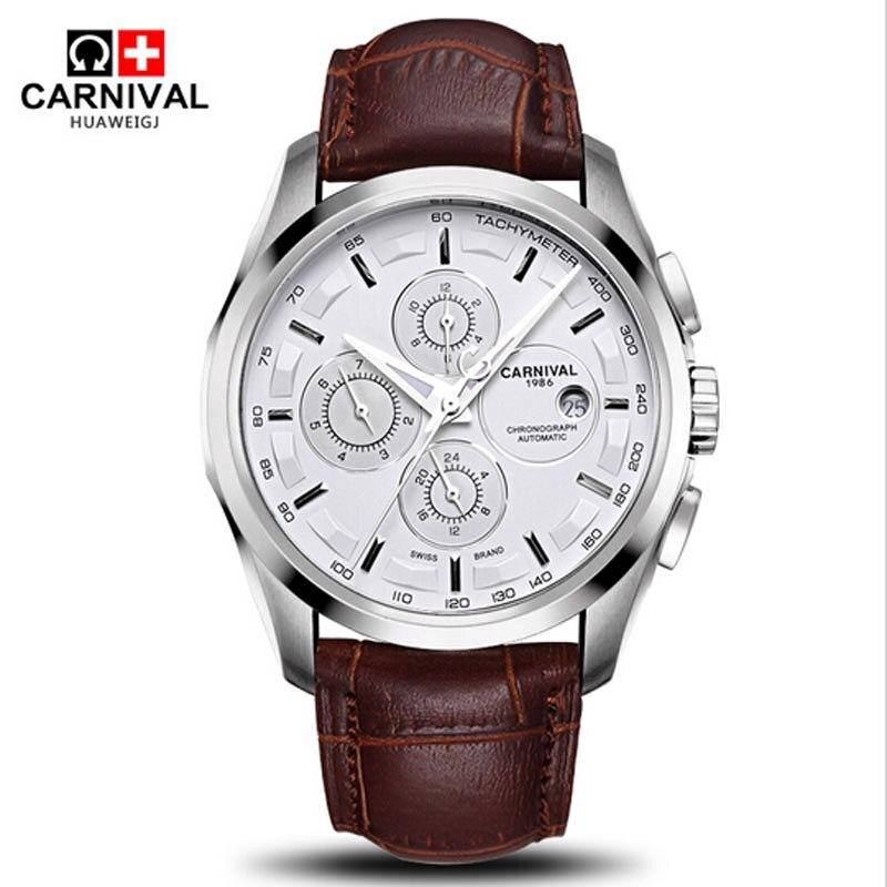 Carnival waterproof Fashion Watch Men Stainless steel Sapphire glass Automatic Mechanical black leather Watch цена и фото