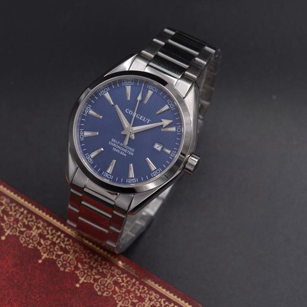Corgeut 41mm men clock Automatic full steel blue dial Mechanical Sapphire Glass dress men wristwatch luxury