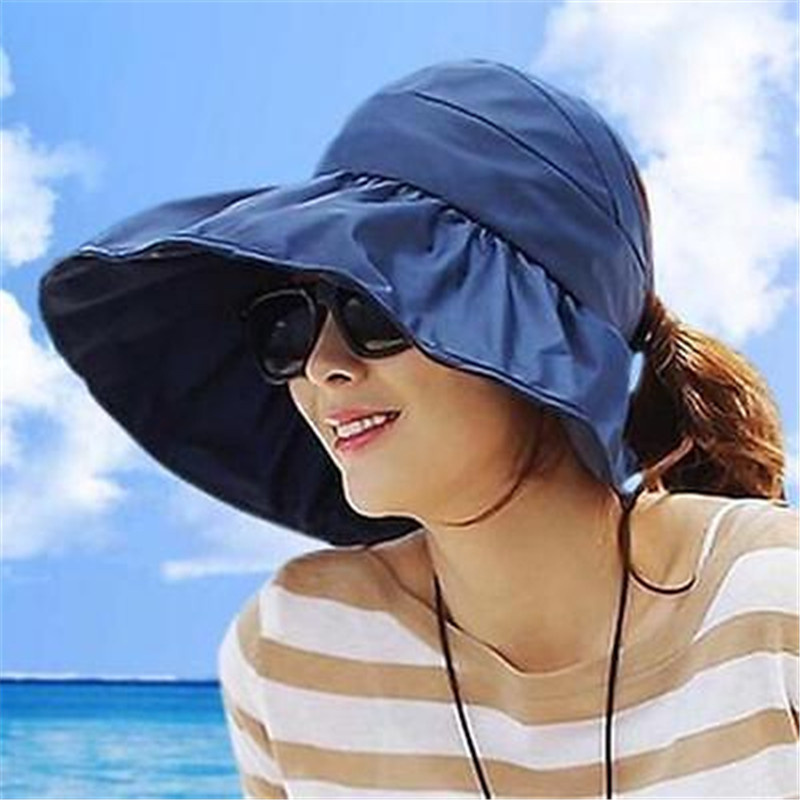 Women's Summer Sun Beach Hats Hot New Lady Wide Brim Foldable Roll Up Floppy Solid Visor Caps Sunhats Chapeau Feminino 4 Colors