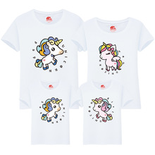 Cute Unicorn Tshirts Family Matching Clothes Mother Daughter T Shirts Mommy and Me Daddy Son Family Look Clothing Summer Outfits summer family look clothes boy t shirts mother