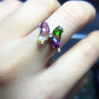 Candy Color Tourmaline Silver Ring 4mm Round Cut Natural Tourmaline Gemstone Ring For Girl Solid 925