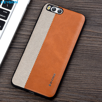 KEYSION Case For Xiaomi Mi6 Mi 6 Fashion Woven And PU Leather And Soft TPU Edge