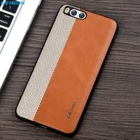KEYSION Case For Xiaomi Mi6 Mi 6 Fashion Woven And PU Leather And Soft TPU Edge