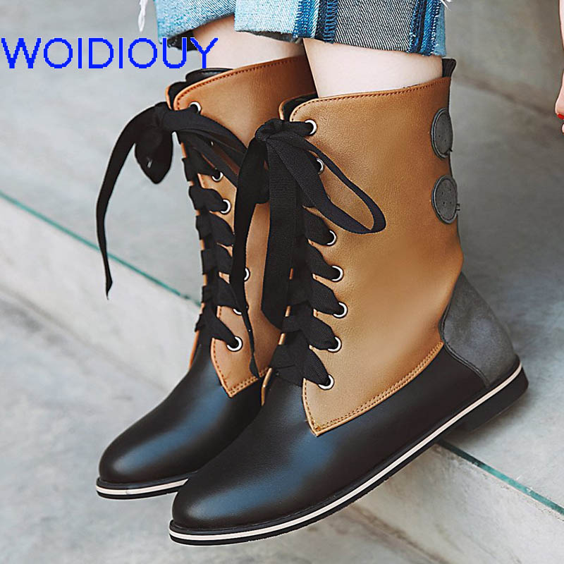 57a3a370fb7e8 Fairy tale woodland shin Genuine Women Boots Patchwork Flat Booties Soft  Handmade Booties Ethnic Shoes Women zapatos de mujer