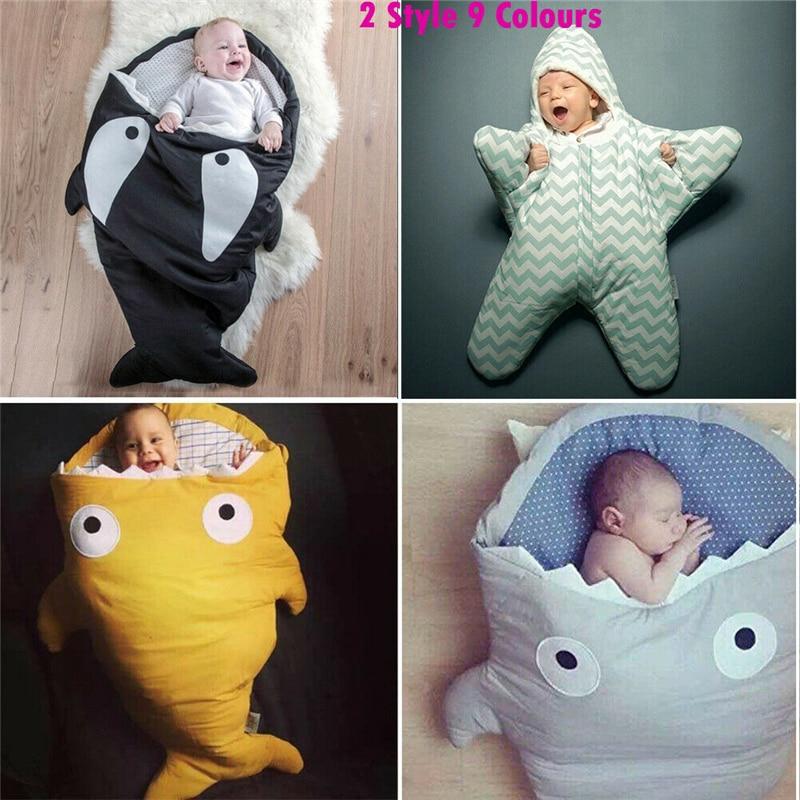 Warm Baby Infant Sleeping Bag Cute Shark Swaddle Blanket Stroller Wrap Soft Sack