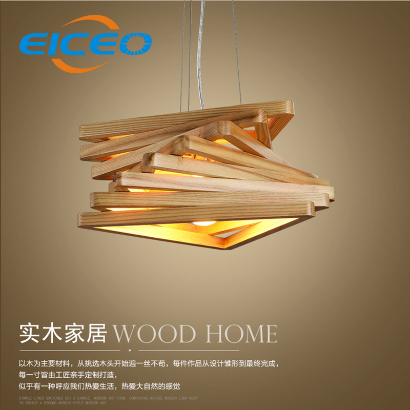 (EICEO) Nordic Wood Chandelier Creative Living Room Lamps Bedroom Restaurant Triangular Wooden Corridor Lights LED Pendant Lamp цена и фото