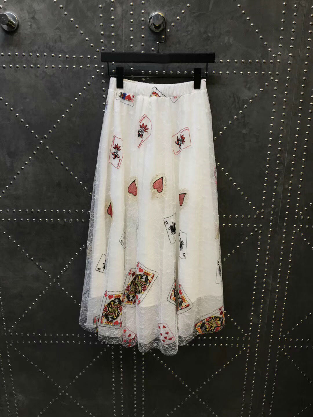 Free Shipping 2018 New Arrival Summer Skirt For Women Poker Embroidered Lace High Waist Skirt ethnic women s embroidered skirt