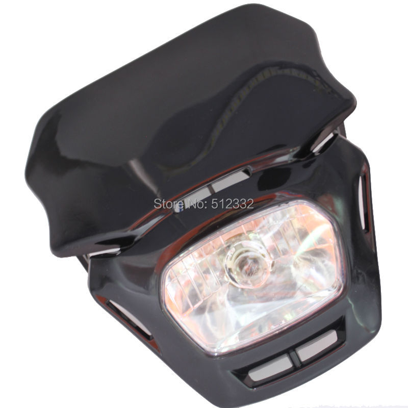 New Style Universal Motorcycle Headlight Black Head Light Fairing Street fighter Enduro