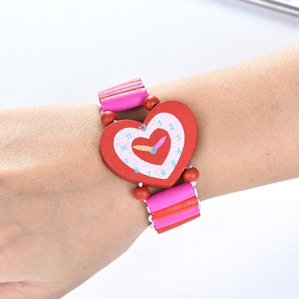 Student Cartoon Babys Watch Bracelet Wooden Crafts Stationery Wristwatches Children Toys Student