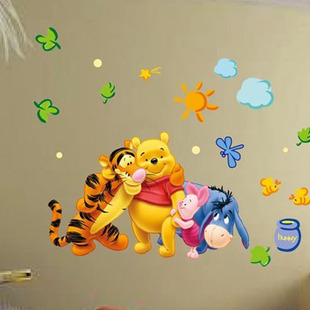 buy winnie the pooh wall stickers animal friends together kids room wall. Black Bedroom Furniture Sets. Home Design Ideas