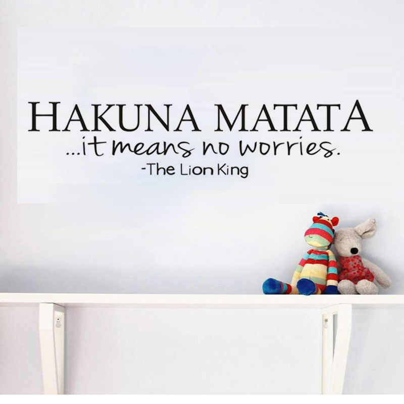 Hakuna Matata It Means No Worries Life Quote Wall Sticker For Kids Room Encourage Vinyl Wallpaper Poster Wall Decals Home Decor Wall Decals Home Decorposter Wall Aliexpress