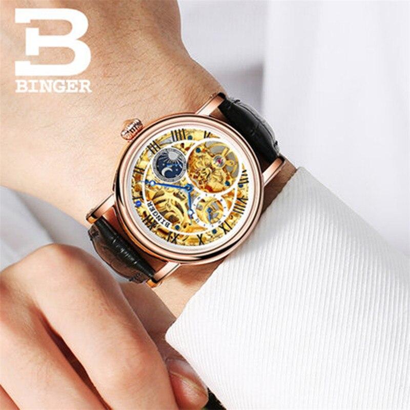Switzerland Brand BINGER Watches Relogio Masculino 2018 Automatic Watches For Men Mechanical Clock Luxury Skeleton Wristwatch