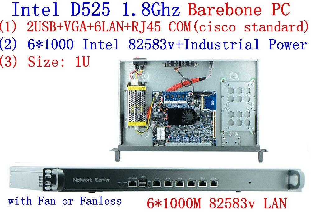 Высокая стоимость эффективным 1U маршрутизатор/сервер брандмауэра с Atom D525, 6 * Intel 82583 В 1000 Мбит/с Lan Поддержка ROS PFSense Panabit Wayos