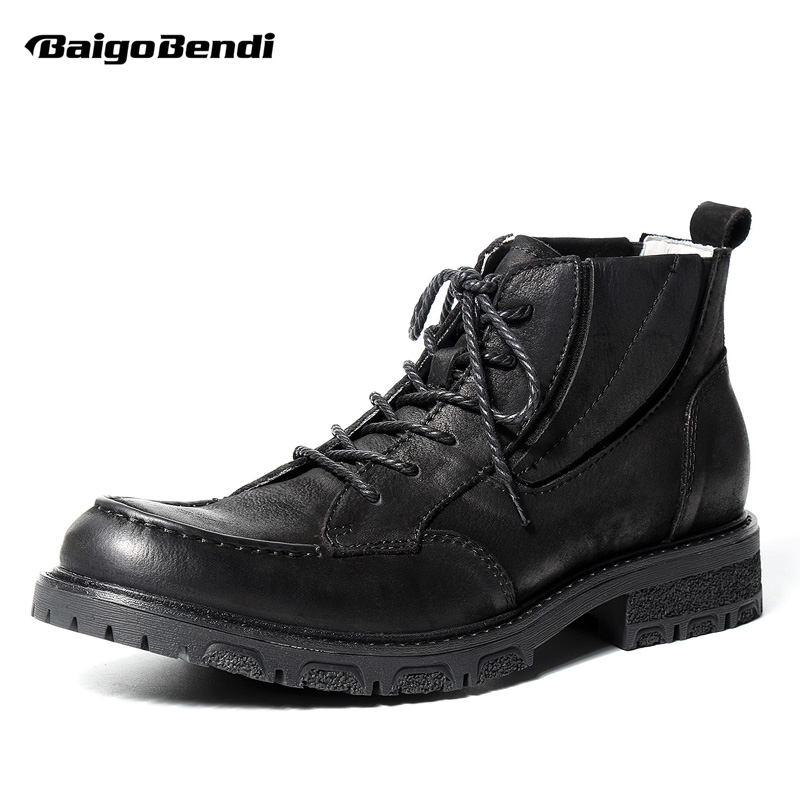 все цены на Retro Men Boots Genuine Leather Round Toe Lace Up Warm Plush Martin Boots Soliders Ridding Boots Business Man Winter Shoes