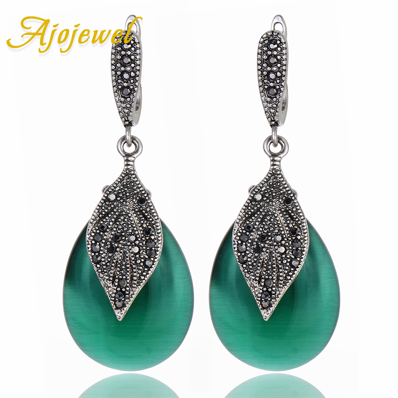 Ajojewel 2017 Nya Lyx Semi-Precious Stone Green Smycken Kvinnor Vintage Earrings With Black Rhinestone Leaf