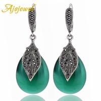 Ajojewel 2017 New Luxury Semi Precious Stone Green Jewelry Women Vintage Earrings With Black Rhinestone Leaf