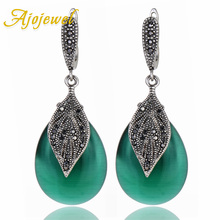 Classic Vintage Green Leaf Earrings Anniversary Party Jewelry For Women With Black Rhinestone