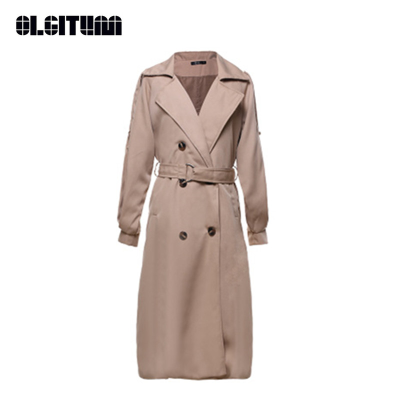 OLGITUM 2018 Autumn Women Trench Coat Long Windbreaker Europe America Fashion Double Breasted Slim Trench Mujer Abrigos TR087