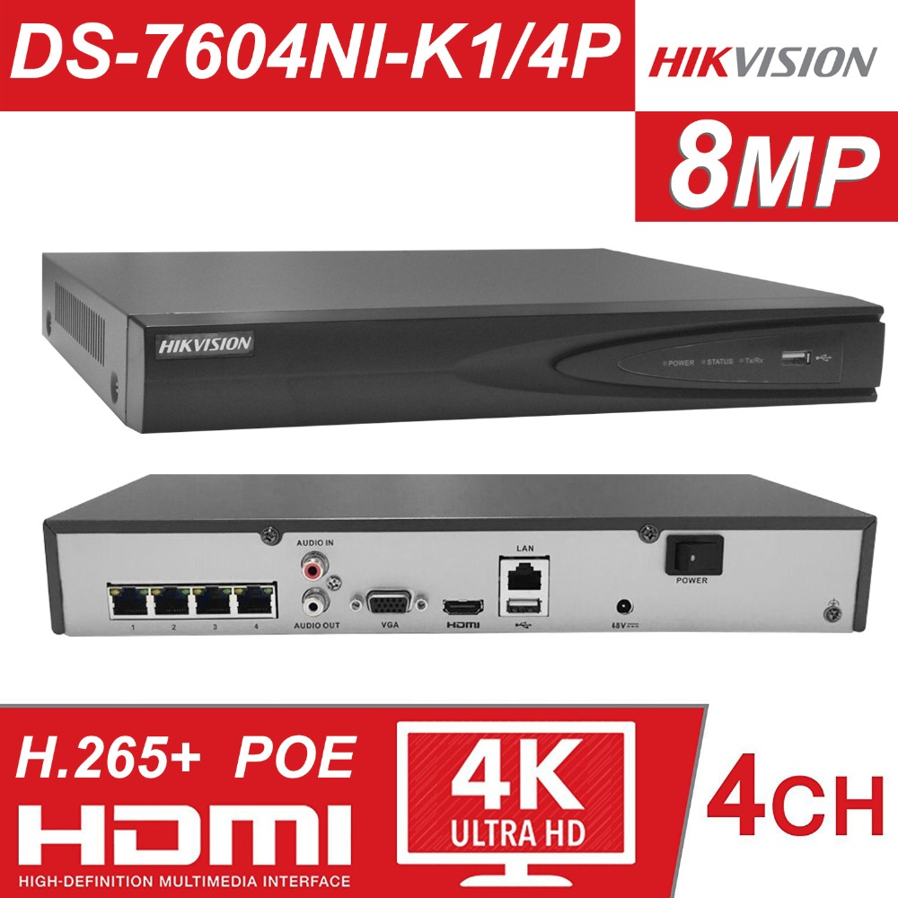 Hikvision-US 4CH 6MP Embedded Plug /& Play NVR//4 Port PoE//DS-7604NI-E1//4P