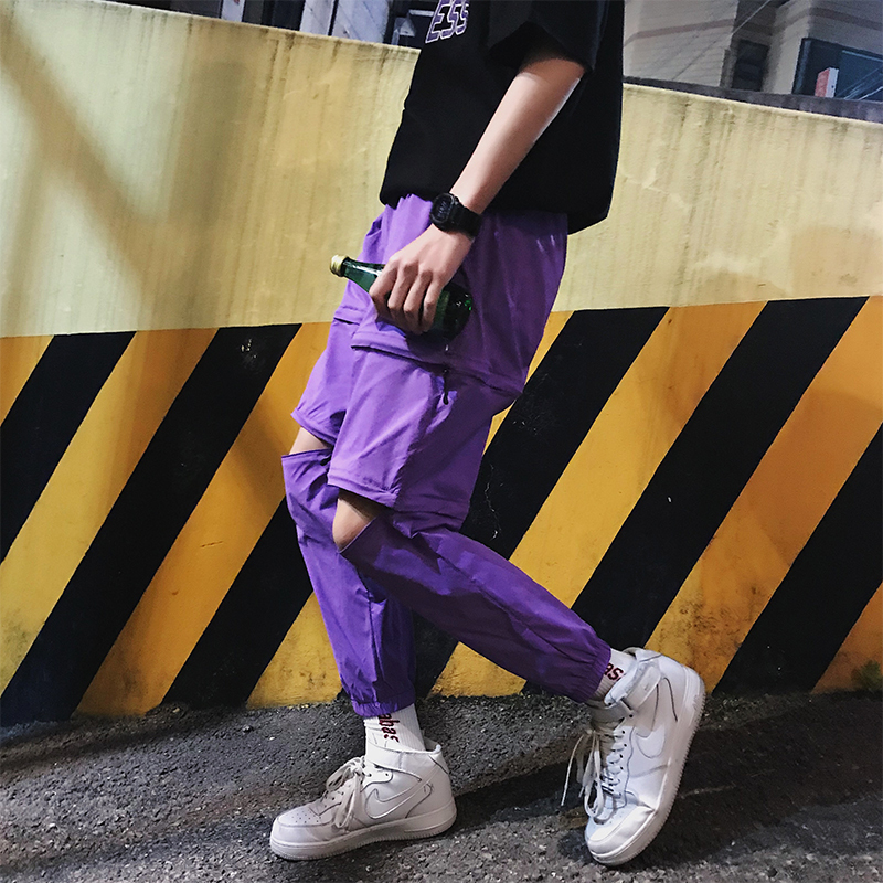 2018 Can Shirk Responsibility The Legs Zipper Design Leisure Time Pants Nine Part personality city boy trend fashion letter