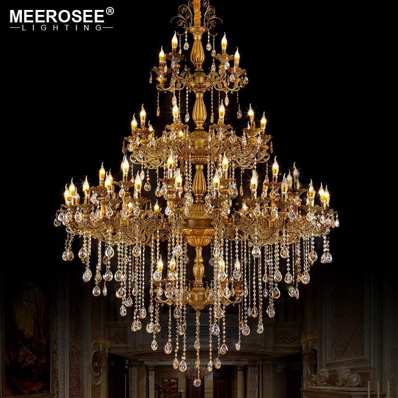 לוקסוס ענק גבישי נברשת תאורה קבועה בציר Lustres תליית מנורת עבור וילה מלון פרויקט נר מנורות אור