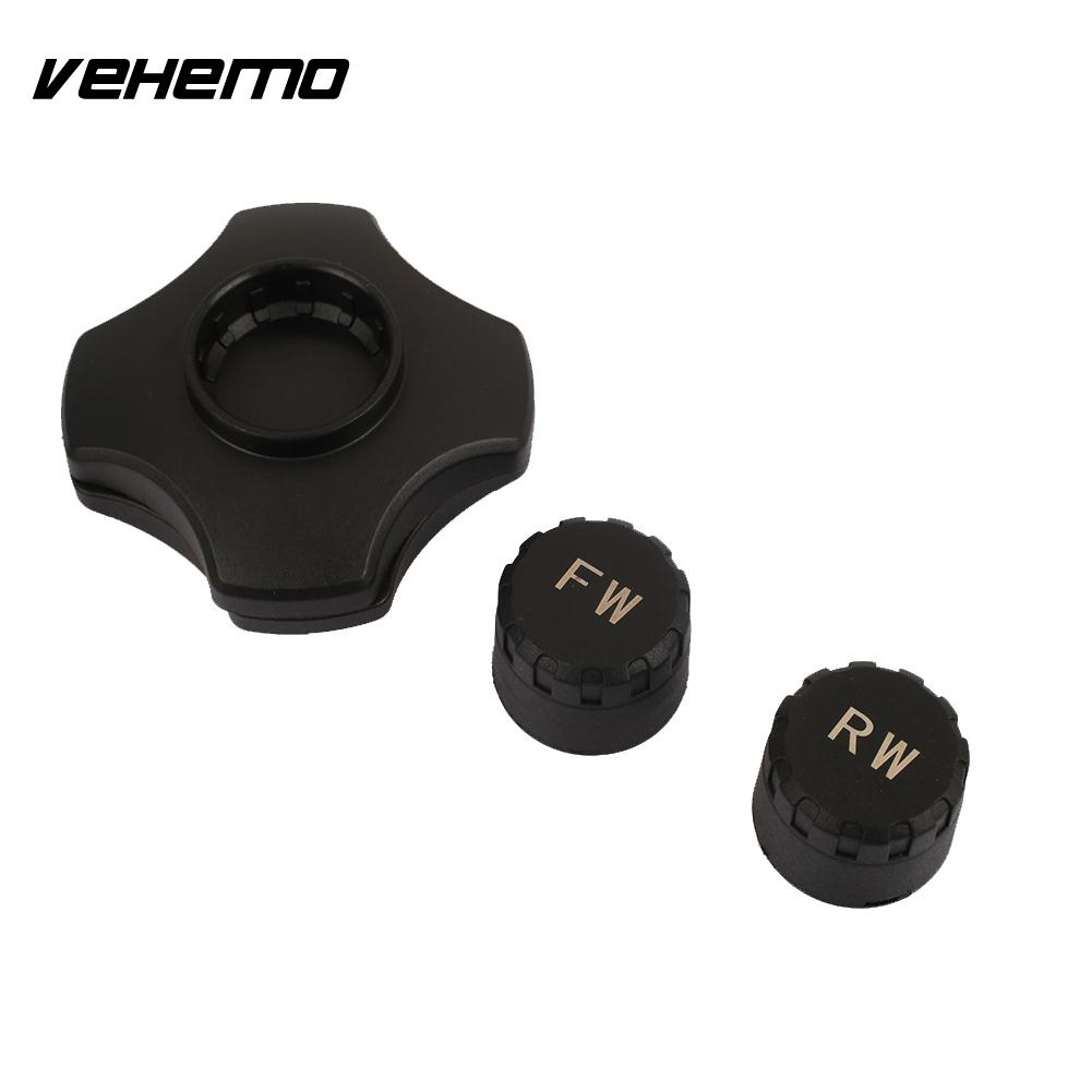 Vehemo TPMS with 2 Sensor Tire Pressure Monitoring Type Pressure Guage Motorcycle Tire Pressure Gauge Bluetooth APP Smartphone