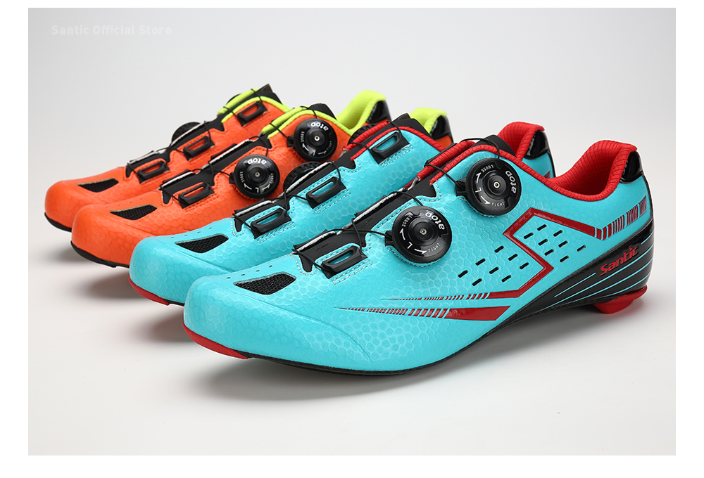 Santic Men's Orange Road Cycling Shoes Carbon Light Sole Annular Sapatilha Ciclismo Zapatillas Eur Size 39-45 450g S12021 k36 450g