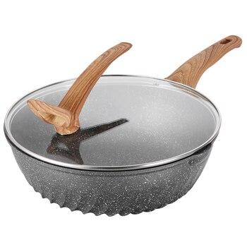 Бытовой Maifan Stone wok антипригарный горшок без масляного дыма железная кастрюля для индукционной плиты газовая плита для многофункционального...
