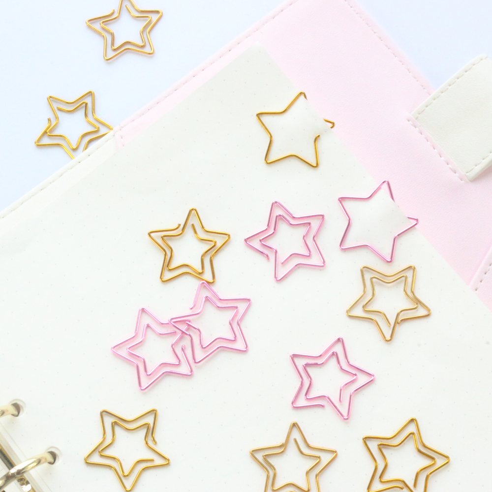 Domikee 2019 New Candy Star Design Metal Office School Paper Clips Stationery,fine Cute Student Notebook Index Bookmark,12pcs