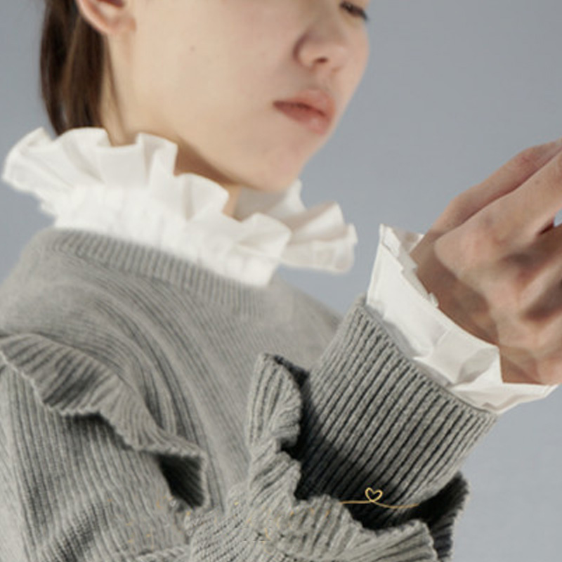 Fake Arm Sleeves Organ Cuff Pleated Horn Cuffs Decorated Department Lace Chiffon Organ Fake Sleeve Decorated Cuffs Pearl