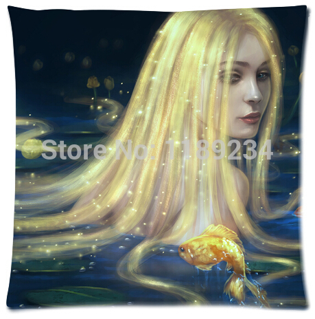 2015 Sale Custom Unique Mermaid In Golden Long Hair Without Love Background Best Lumbar Zippered Pillow Case35