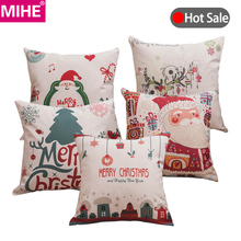 MIHE Merry Christmas Decoration Cushion Cover Gift Print Car Seat Pillow Soft Bed Decorations Cushions For Home BZT06