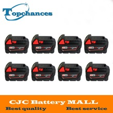 8PCS High quality 18V 4.0Li-Ion 4000mAh Replacement Power Tool Battery for Milwaukee M18 XC 48-11-1815 M18B2 M18B4 M18BX Li18