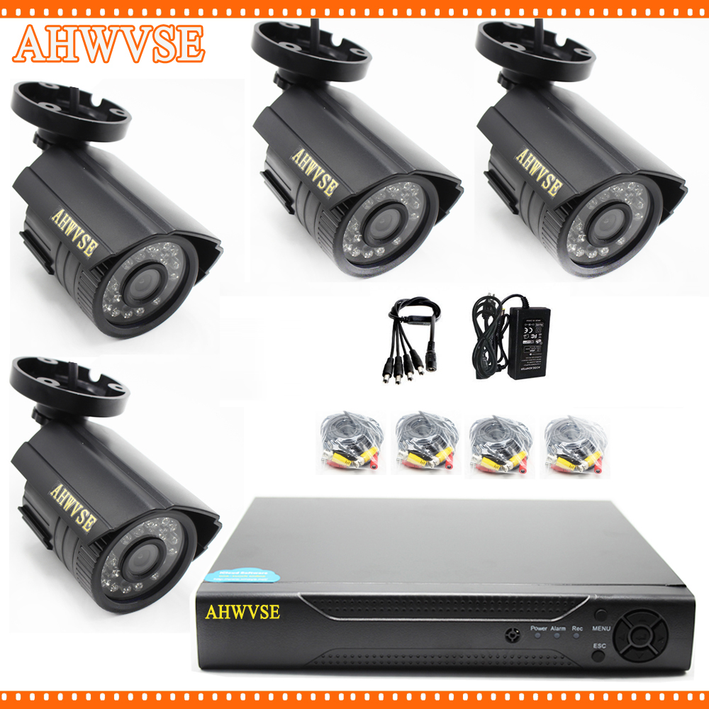 4CH CCTV System 720P HDMI AHD CCTV 1080N DVR 1.0 MP IR Outdoor Security Camera 1200TVL Camera Surveillance Kit