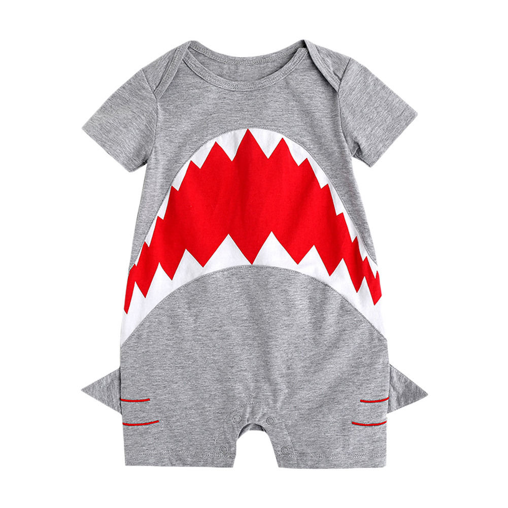 Summer New Adorable Kid   Romper   Cotton Baby Boys Short Sleeve Cartoon Shark   Romper   Jumpsuit Playsuit Cute Outfits Clothes 0-24M