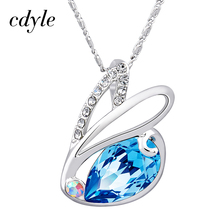 Cdyle Crystals From Swarovski Necklaces Women Pendants Rabbit Shaped Romantic Anniversary Accessories Blue Yellow Chic Fashion(China)