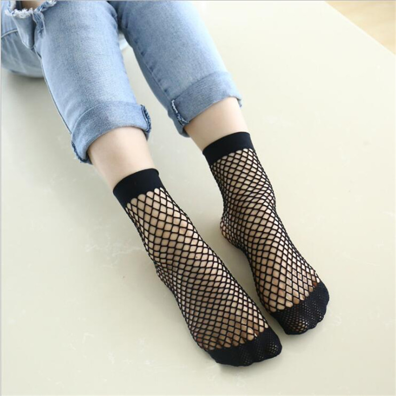 Hot Ladies Sweet Mesh Sox Sexy Hollow out Nets Socks Harajuku Candy Color Breathable Fishnet Socks Chic Streetwear Women