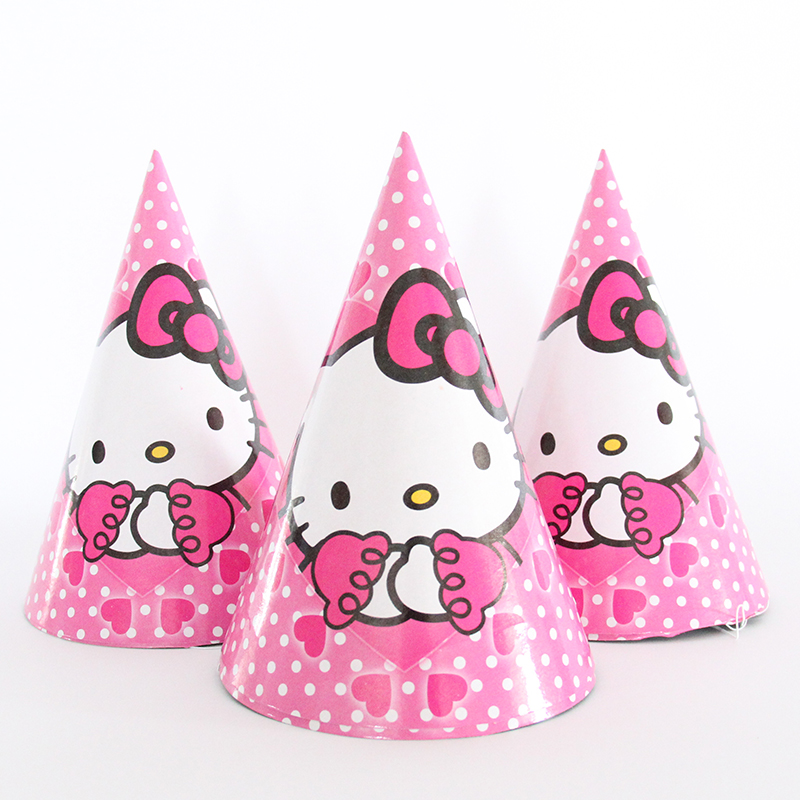 6pcs/lot Hello Kitty Cartoon Theme Party Paper Caps Hats For Kids Children Birthday Party Decoration Supplies
